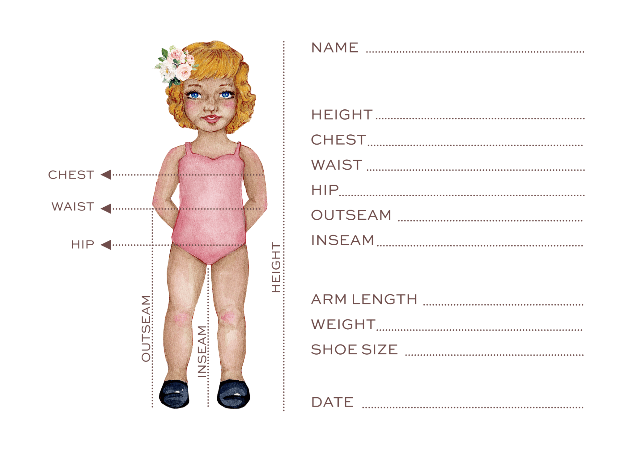 photograph relating to Printable Body Measurement Chart for Sewing named Dimension Chart Heritage Traditional Very little Female