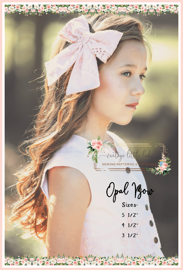 Opal girls bow in pink with lace