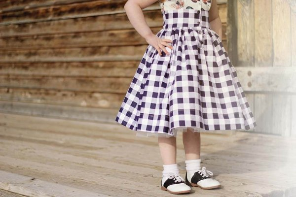 Opal gingham skirt detail with vintage saddle shoes
