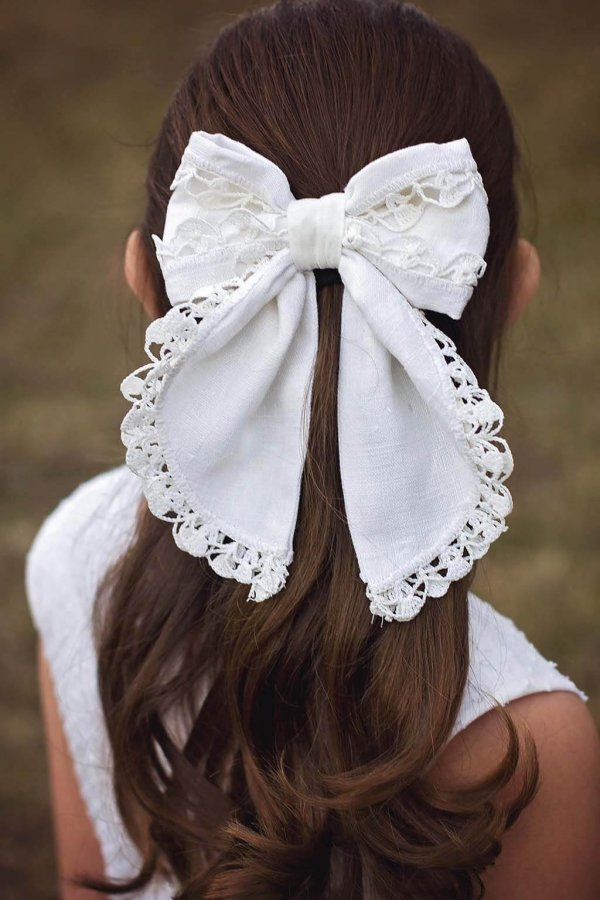Opal girls hair bow, white with lace edging