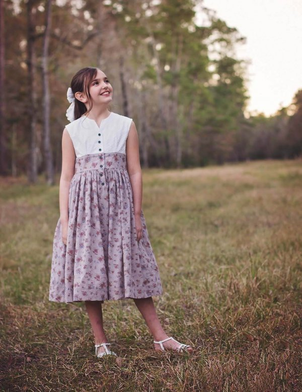 Opal girls dress with white top and flowered skirt