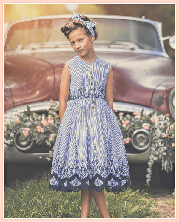 Opal vintage pattern sleeveless girls dress with blue stripes