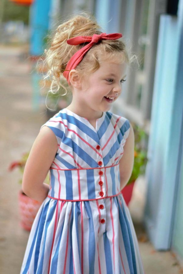 Opal girls dress with red, white & blue stripes