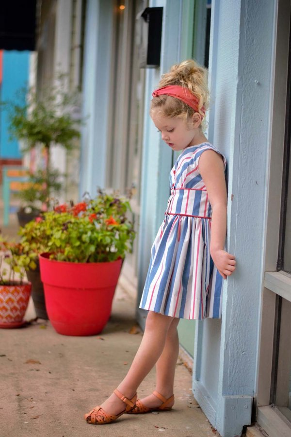Opal red white & blue stripes dress