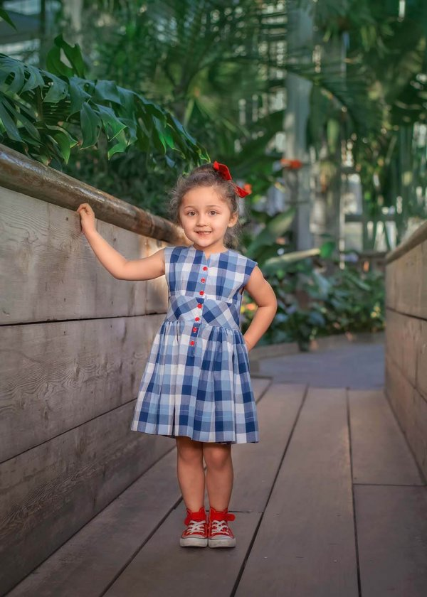 Opal girls dress gingham shades of blue, red buttons