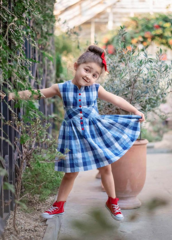 Opal flirty skirt girls blue gingham dress