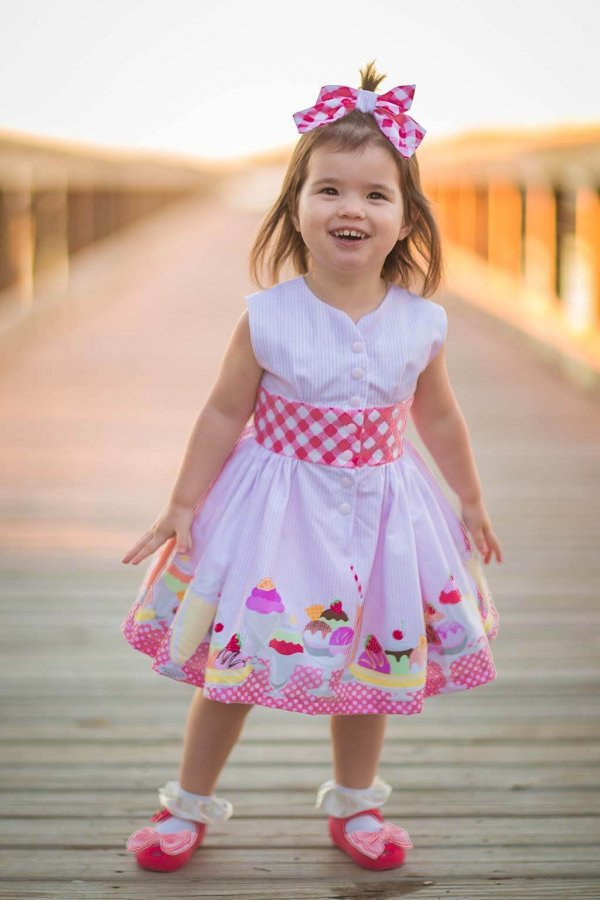 Opal Happy Play Dress with Red & White Gingham Bow