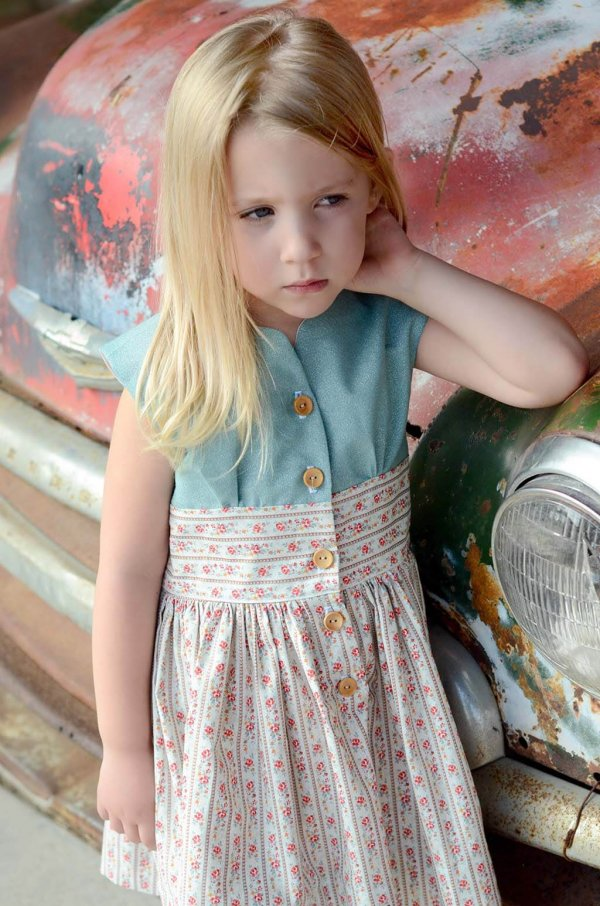 Opal Vintage Little Girls Dress Blue Top, Calico Flower Waist and Skirt