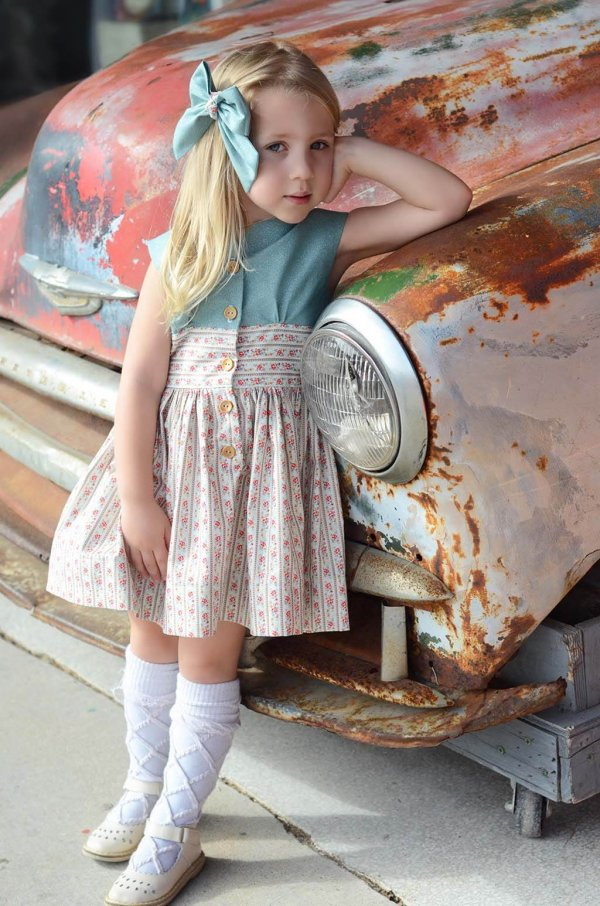 Opal Vintage Little Girls Dress Blue Top, Calico Flower Waist and Short Skirt