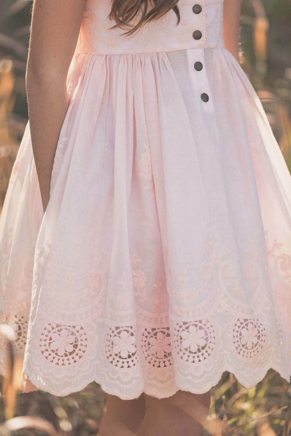 Opal Pretty Pink Vintage Dress Lace Hem Detail