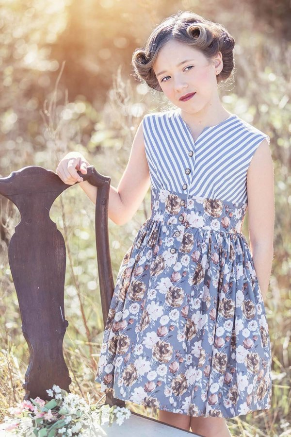 Opal Vintage Dress with Blue Striped Top, Flowery Waist and Skirt