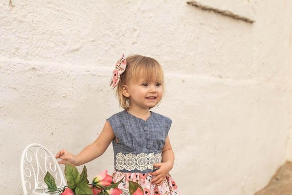Opal Little Girls Dress, Blue Top and Waist with Lace Trim, Peach Flowered Skirt and Bow