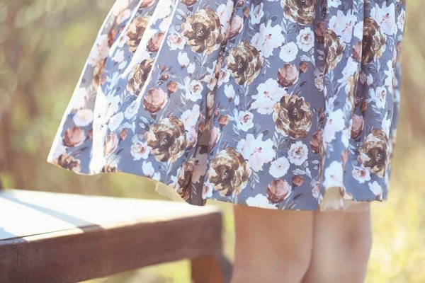 hemline detail of Opal flowered skirt, above the knee
