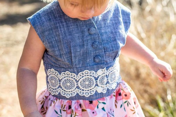 Opal Little Girls Dress, Blue Top and Waist with Lace Trim Detail