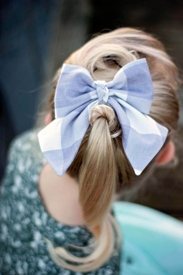 Opal girls bow, large blue & white gingham