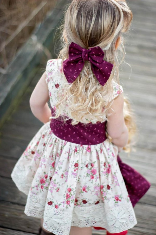 Opal vintage flowered dress and burgundy bow matching waistband