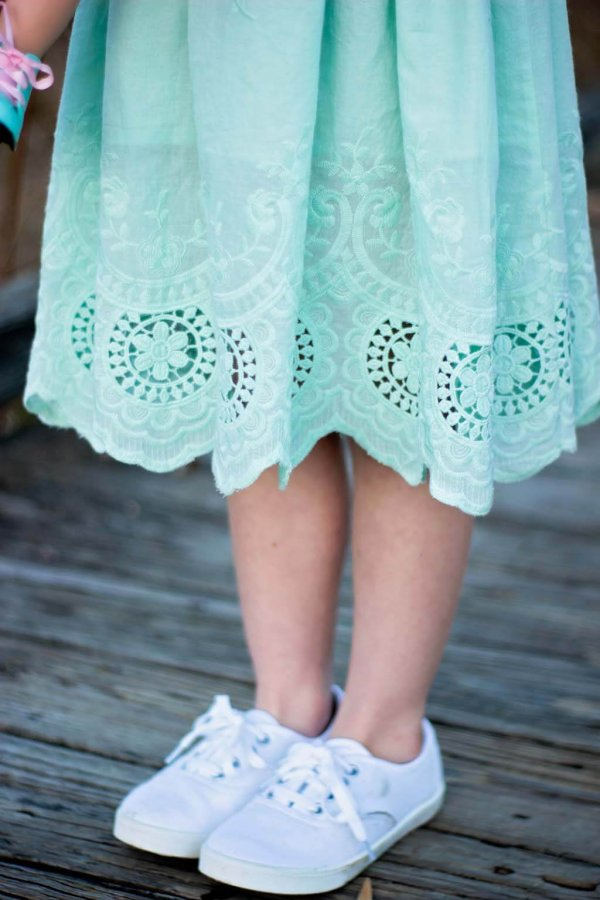 Opal blue wide lace hem detail