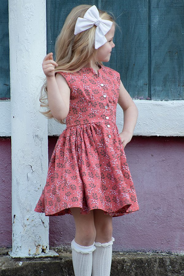 Opal calico girls dress above the knee skirt