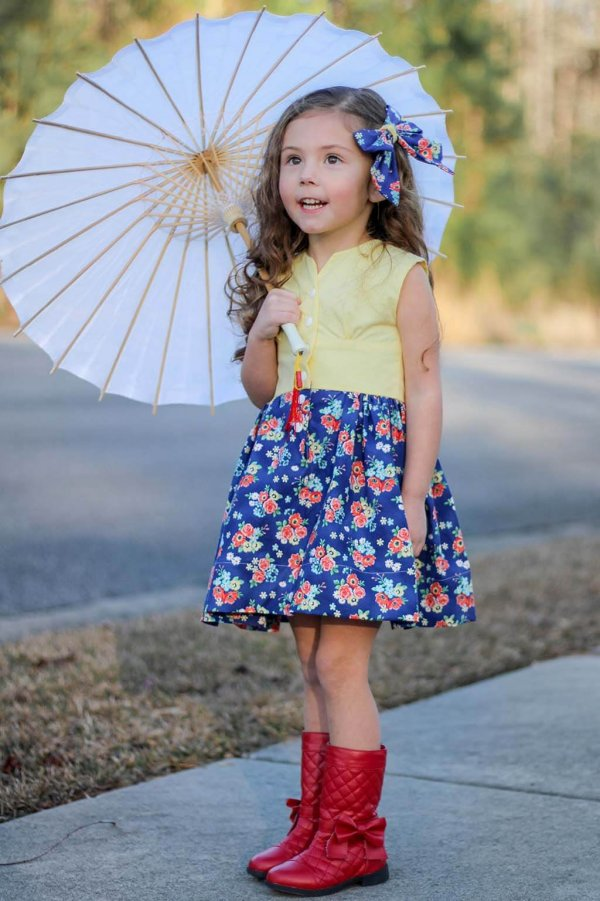 Opal Yellow Top and Waist, Blue Flowered Skirt and Bow