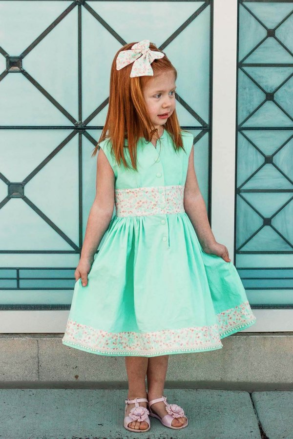 Opal Girls Dress Mint Green with Matching Calico Waistband, Bow and Hem Detail