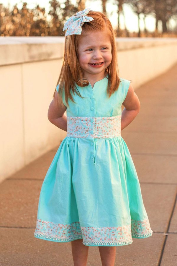 Opal Tea Length Mint Green Dress with Coordinating Calico Bow, Waist and Hem Decor