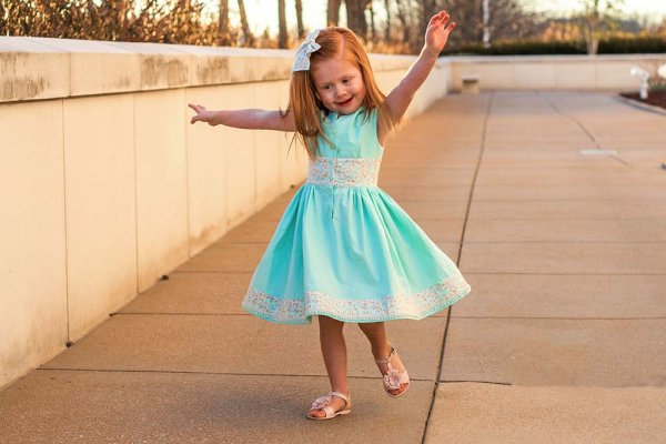 Opal Swingy Skirt Mint Green Dress with Coordinating Waist, Bow and Hemline