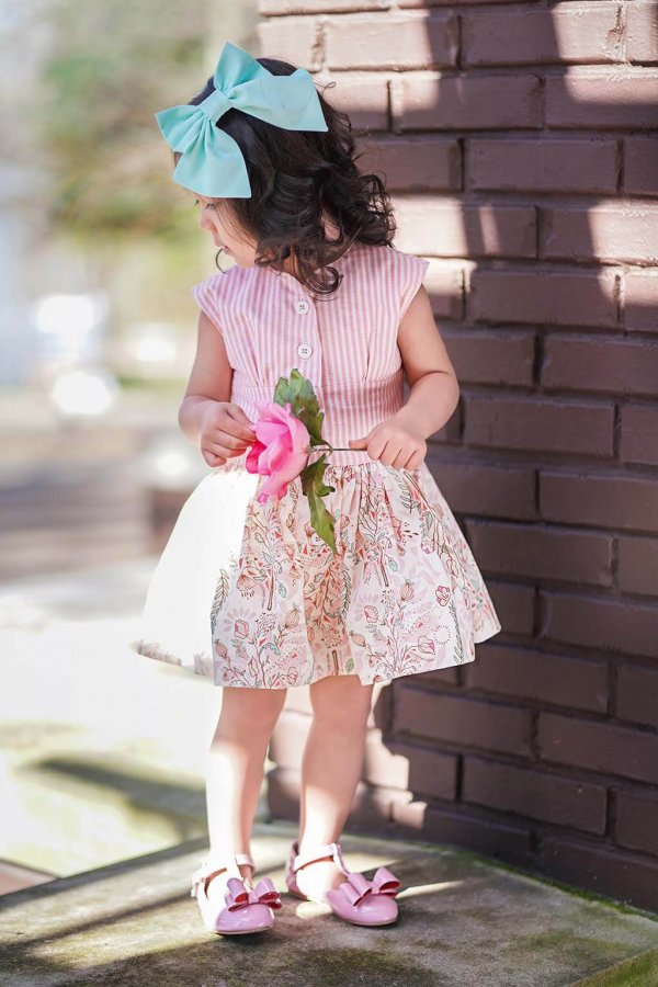 Opal Pink Striped Top and Waist, Pink Flowered Short Skirt, blue bow