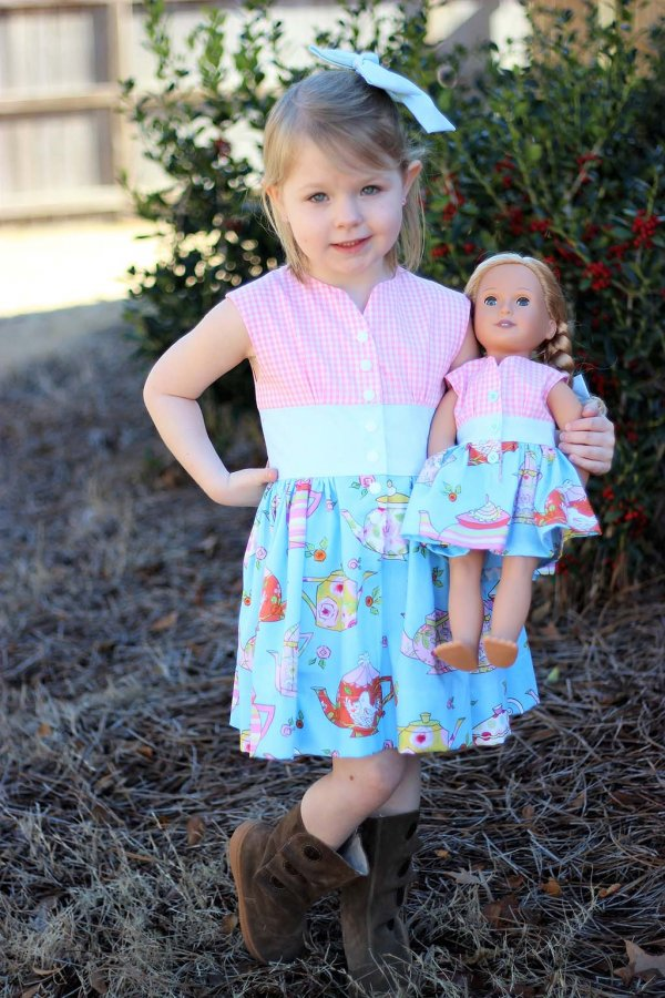 vintage Opal dress for girls and their dolls