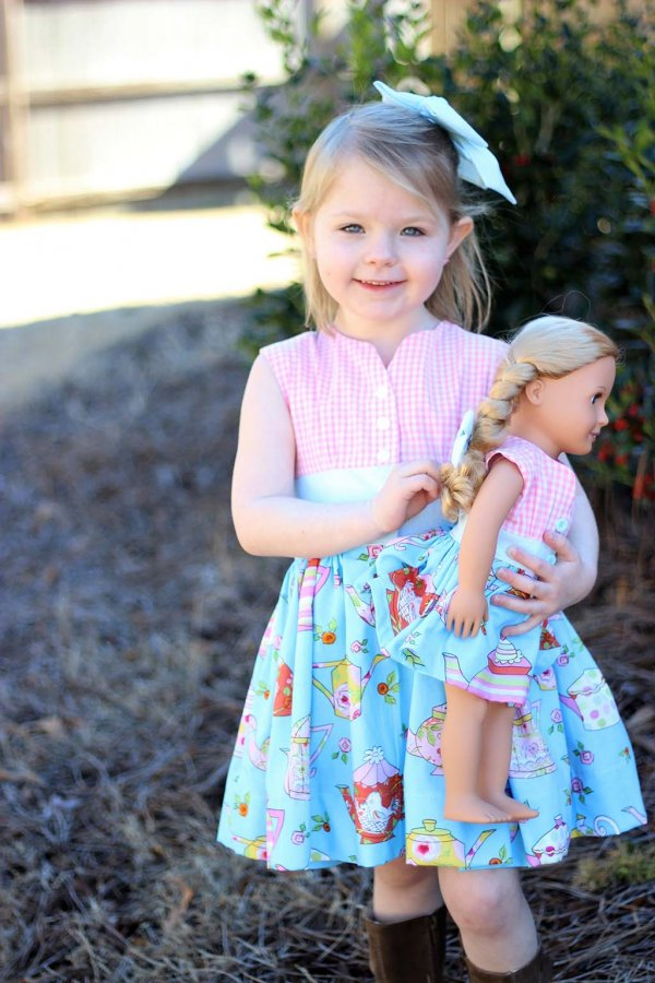Cute vintage Opal dresses for girls and dolls. Pink gingham tops and fun print skirts.