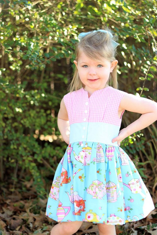 Opal Vintage Dress Pink Gingham Top, Blue Waist, Fun Print Short Skirt