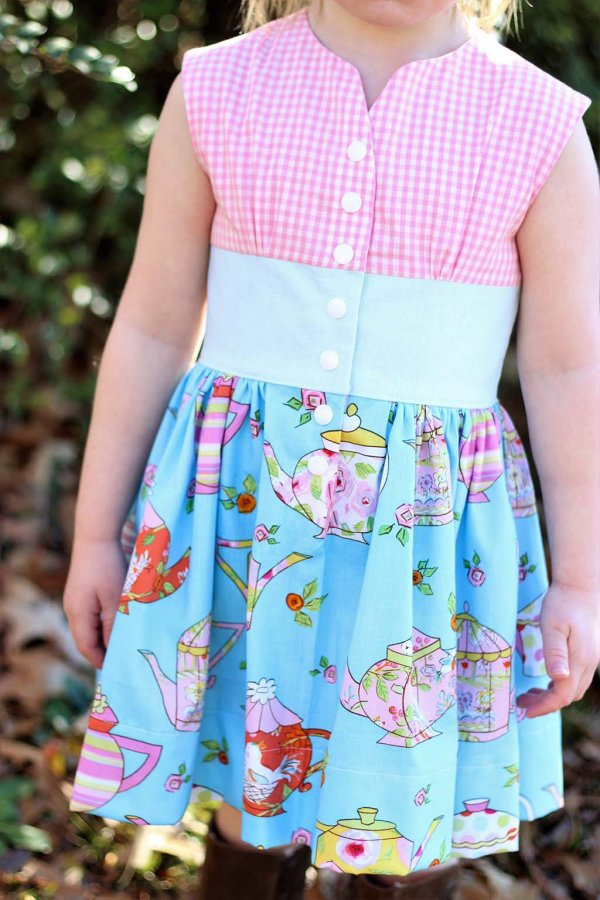 Opal Vintage Dress Pink Gingham Top, Blue Waist, Fun Print Skirt Detail