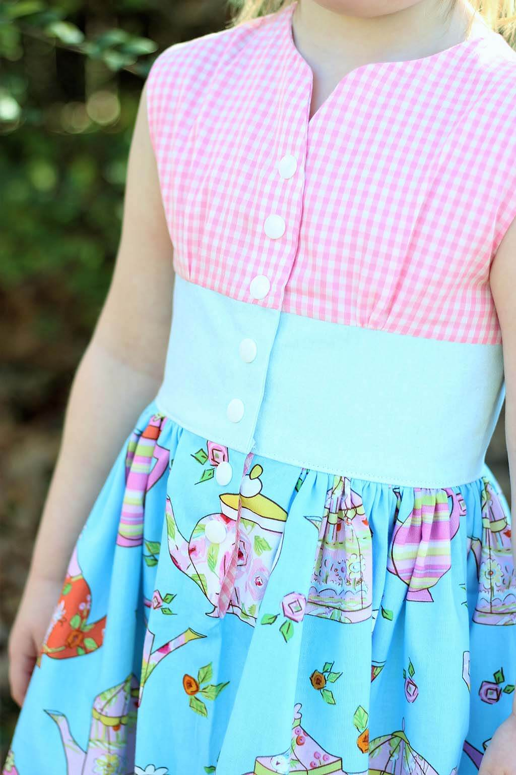 Opal Vintage Dress Pink Gingham Top, Blue Waist, Fun Print Skirt Top Detail
