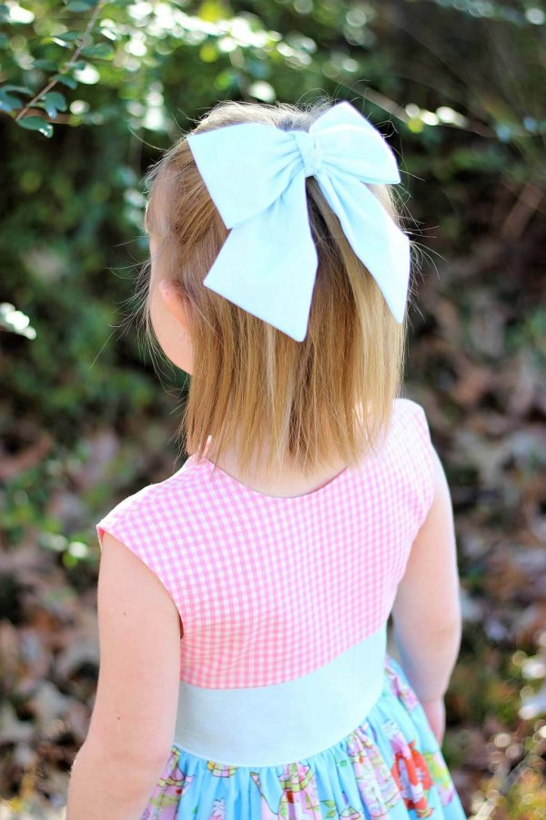 Opal Pink Gingham Top, Blue Waist and Bow, Fun Print Skirt