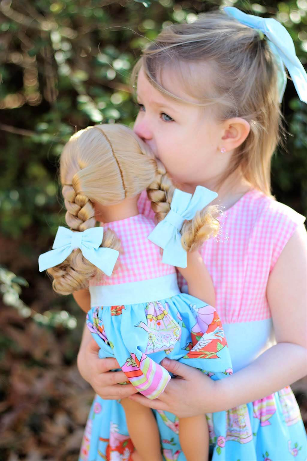 Opal vintage little girl's dress, matching doll dress