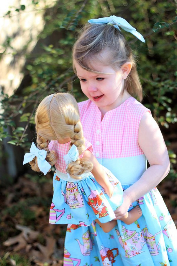 Opal 18 inch doll dress and bows