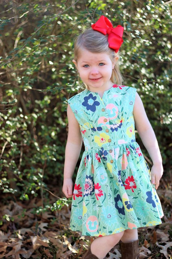 Opal Little Girls Vintage Dress Bold Flower Print