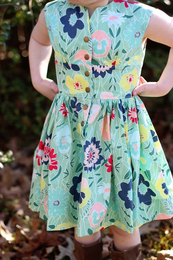 Opal Little Girls Vintage Dress Bold Flower Print Detail