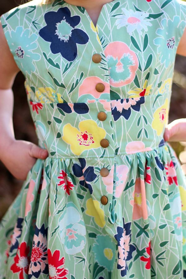 Opal Little Girls Vintage Dress Bold Flower Print Front Detail