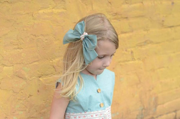 Opal Blue Top and Bow, Patterned Waist and Skirt