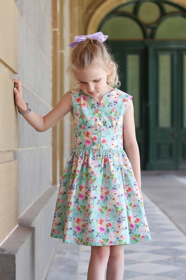 Opal calico flowered dress with pink hair bow