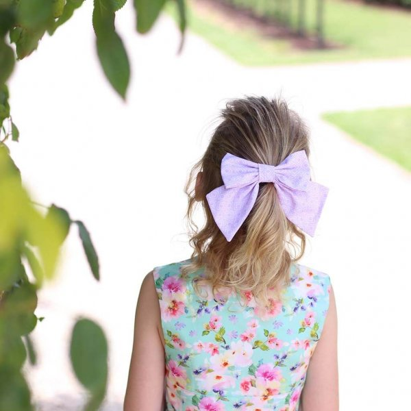 Opal Dress Pink & Purple Flowered, Purple Bow