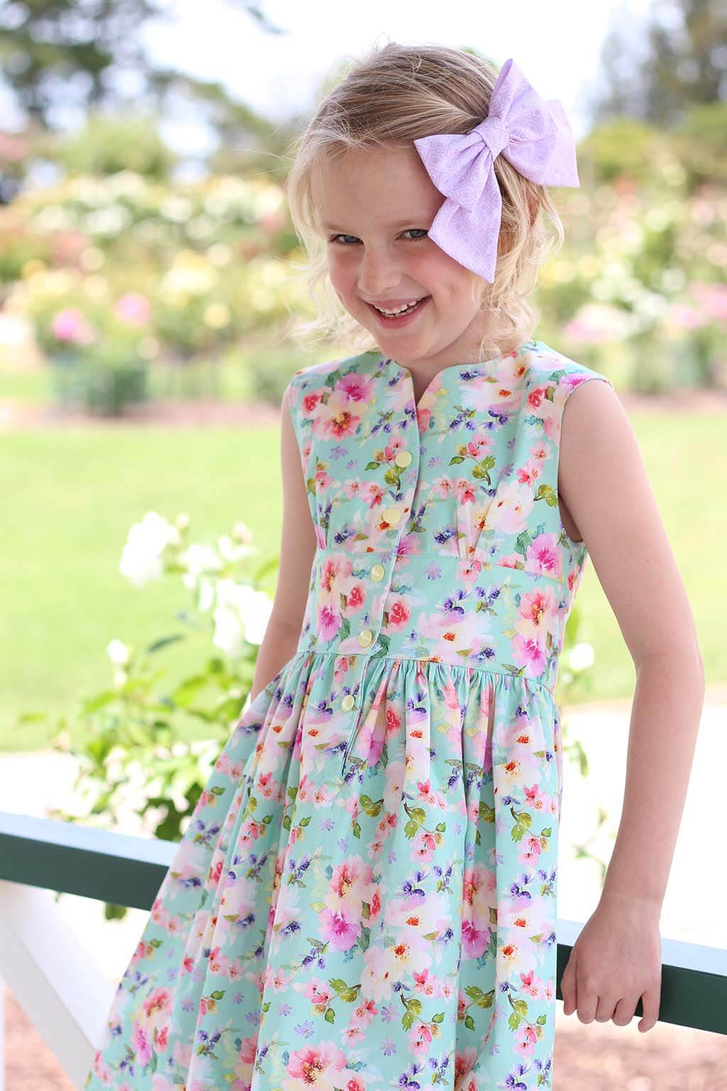 Opal girls dress calico flowers with pink hair bow