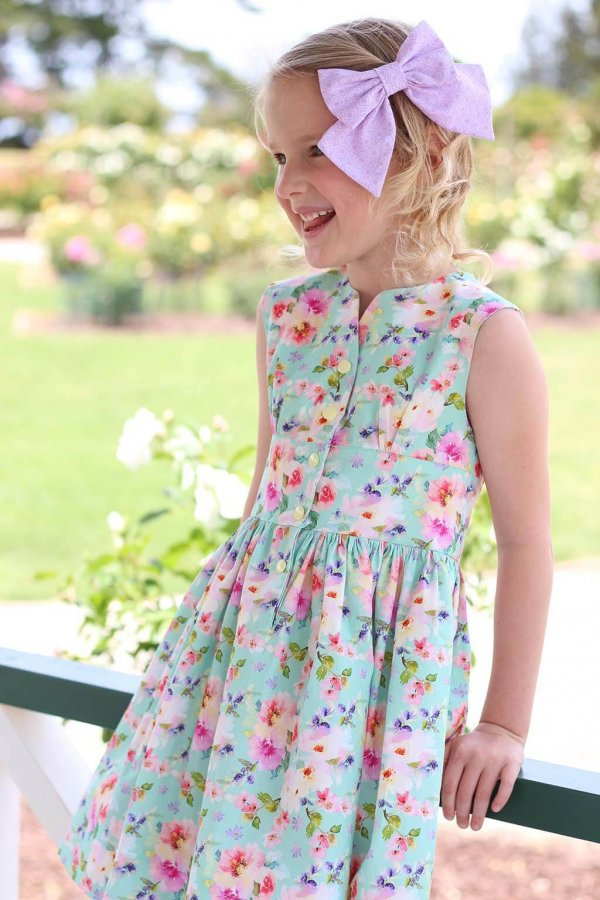 Opal Dress Pink & Purple Flowers, Purple Bow