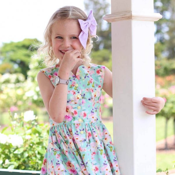 Opal Dress Pink & Purple Flower, Purple Bow