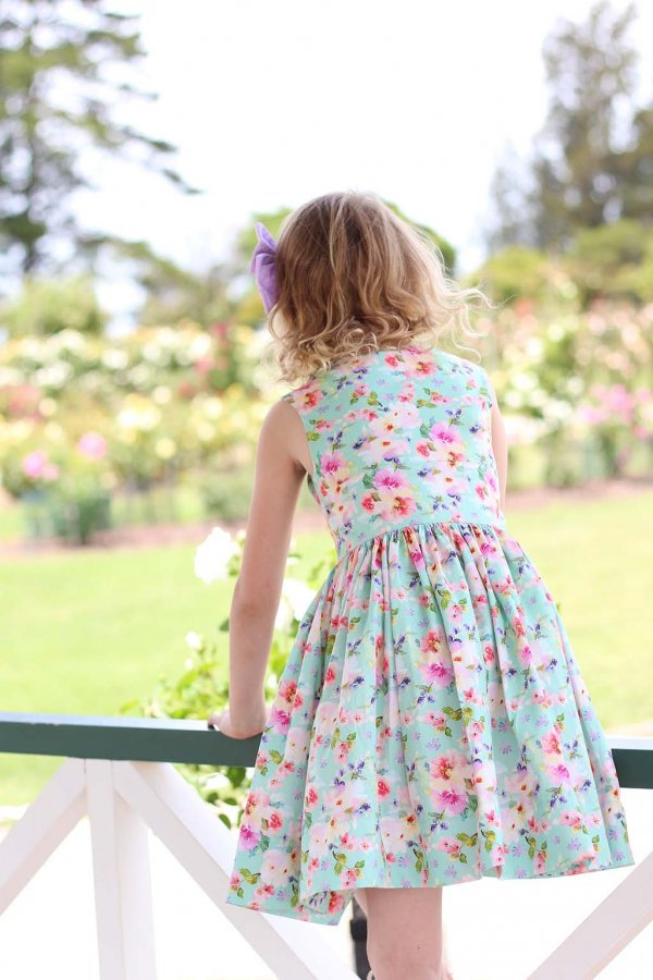 Opal girls dress calico flowers back view