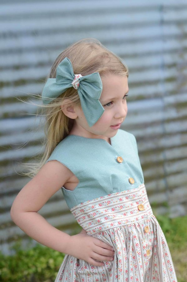 Opal Girls Dress, Blue Top and Matching Bow, Patterned Waist and Skirt