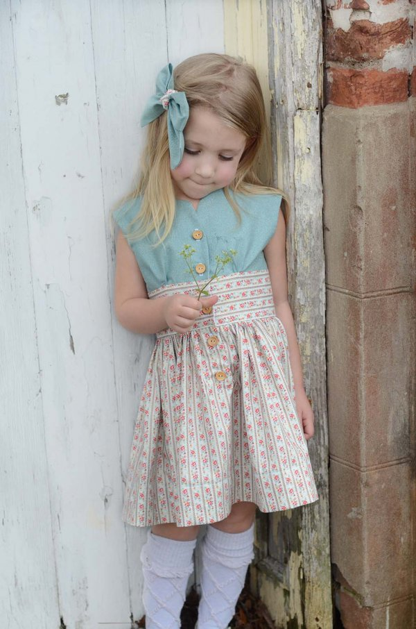 Opal little girls dress with blue top & calico skirt, blue hair bow