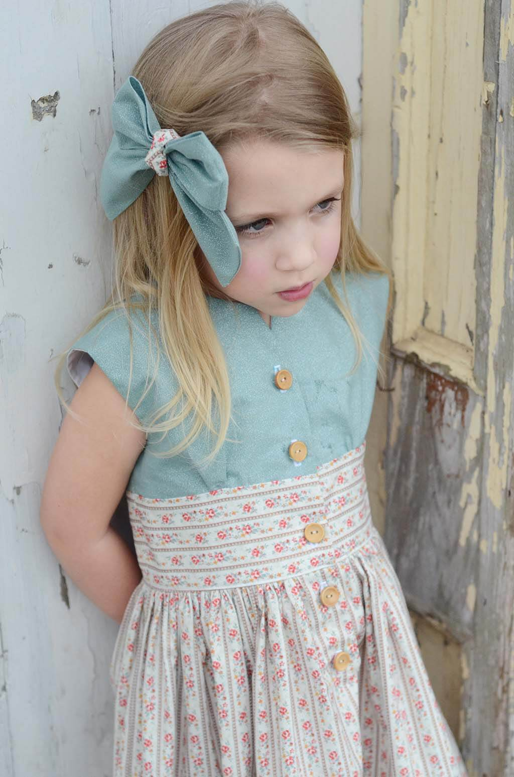 Opal little girls dress blue top & calico skirt