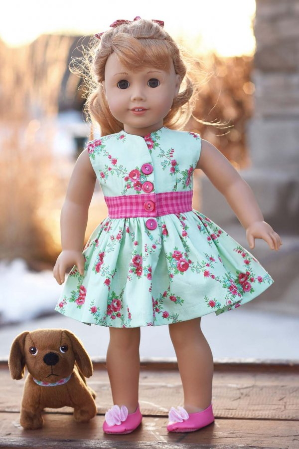 pink gingham waist and flowered Opal doll dress
