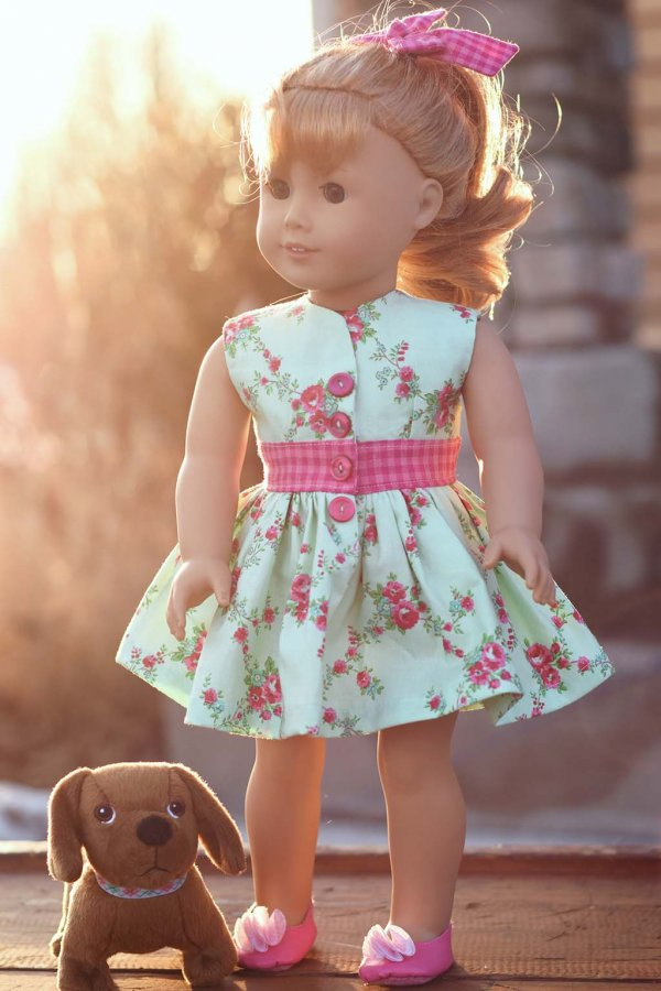 Opal flowered doll dress with pink gingham sash